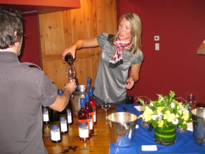 Pouring white and red LaStella wines