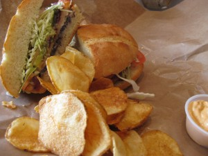 Milanesa Chicken Sandwich and Potato Chips