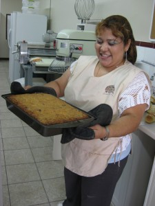 Blanca showing off her Bread Pudding