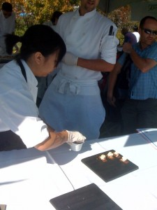 Pastry Chef from Lumierre with her fig dessert