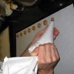 Piping batter onto cookie sheet