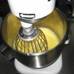 Mixing eggs for butter cream