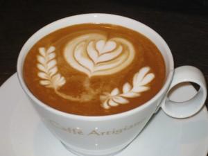 Beautiful Tulip art on the Latte
