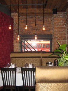 Dining under the Edison lightbulbs