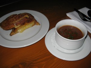 Crispy Cheese with Roasted Tomato Soup
