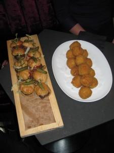 Mini Prime Rib Burgers (L) & Truffle Mac & Cheese Balls (R)