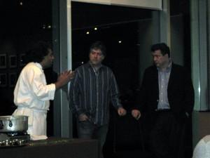 Chef Vikram Vij (L), Bela Fleck (M), Edgar Meyer (R)