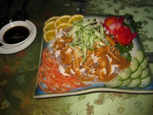 Chicken with glass noodles with peanut sauce