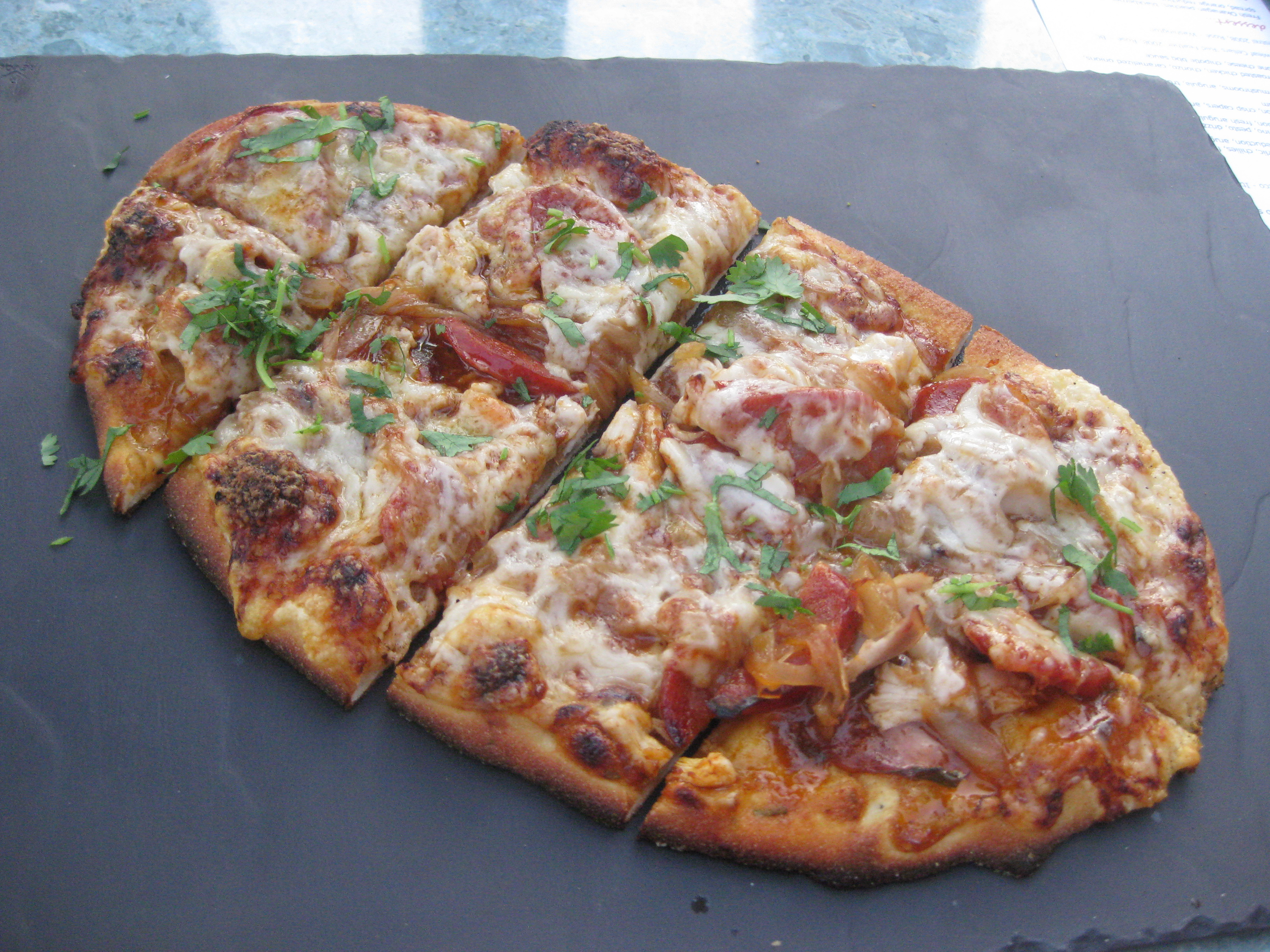 pizza topped with Forno roasted chicken, chorizo, caramelized ...