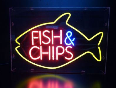 Fish and chips sign for Fish neon sign