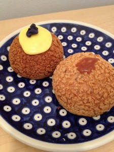 Passion Fruit(L) and Salted Caramel (R) Cream Puffs