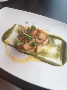 Skuna Bay Salmon with sweet garlic gnocchi in a sorrel purée