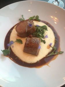 Lamb with a truffle pomme purée and a green peppercorn jus