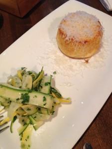 Souffle di parmigiano, zucchini crudo