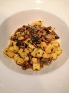 Polenta gnocchi, cheese fonduta, mushroom