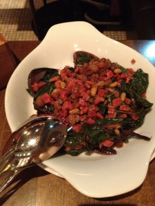 Swiss chard, raisins, capers, pine-nuts