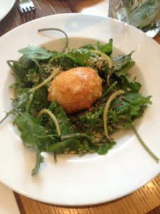Kale Caesar Salad with Crispy Egg and Parmesan