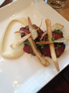 Flank Steak with parsnip puree