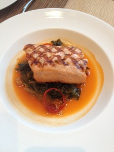 Grilled Steelhead with collard greens