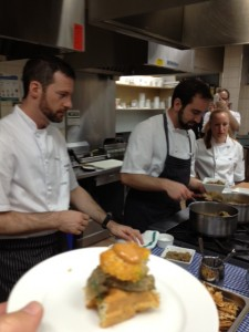 Sapo Bravo's Eggplant Relish on Savory Waffle fried chicken oyster