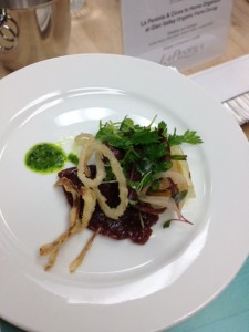 Shallots and Venison parsley sauce, onion puree, roasted shallots, venison salada