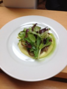 Chanterelle and Netted Gem Potato Lasagna with Corn Nage