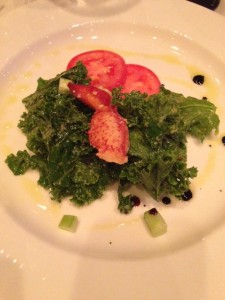 Organic Kale Salad with lobster, tomato, cucumber, and blacked pepper!