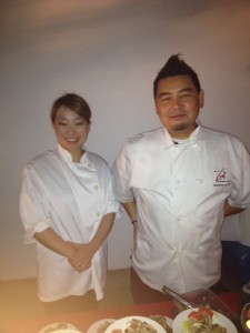 Sommelier/Executive chef Tatsuya Katagiri (R) of Zest Japanese