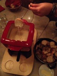 Cheese fondue with side salad