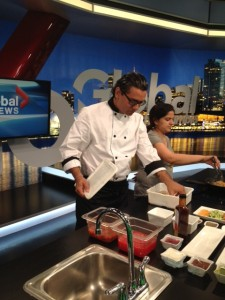 Chef Siddharthas Choudhary on Global Weekend Morning News getting ready to cook.
