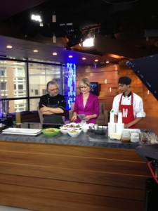 On set at CTV BC Noon News TV Chef Abdel Elatouabi of Sol Sun Belt Cookery ready to make his Grilled Harissa Drummetes & Chef Rennie Chotalal of Malone's ready to make his Salted Caramel Waffle Wings with Zing for host Coleen Christie