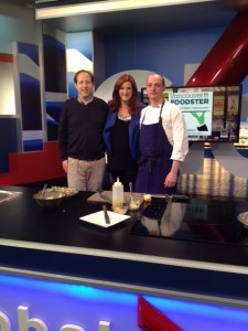Richard Wolak with Lynn Colliar host of Global Weekend Morning News with Chef Tony Marzo of Kessel & March.