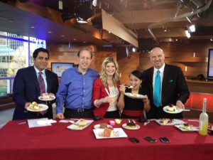 On the CTV Morning Live set tasting cheesecake with Aamer Haleem, Norma Reid, Ann Luu, and Marke Driesschen