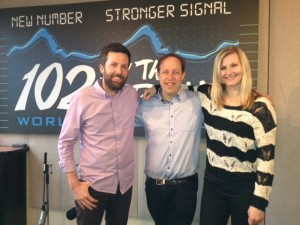 Cory Ashworth and Laurie Logan -Peak FM Morning Show Radio Hosts and Richard Wolak (centre)