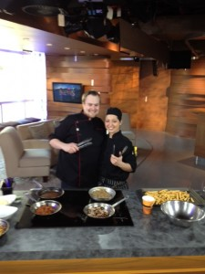 Chef Shaun Snelling and Chef Josie Dib in their own poutine challenge on CTV Noon News