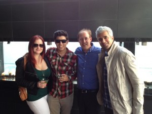 At the Black + Blue Rooftop Restaurant opening party — with Chelsea Hobbis, Andrew Sosa and Riaz Meghji.