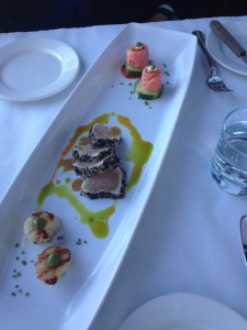 Platter of Scallops, seared Sesame Crusted Tuna and Salmon