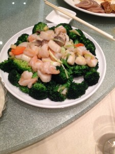 Scallop and Shrimp with green vegetables