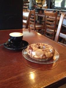 Espresso Macchiato and a Coffee Toffee Donut