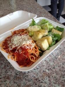 Spaghetti Classico with Caesar salad