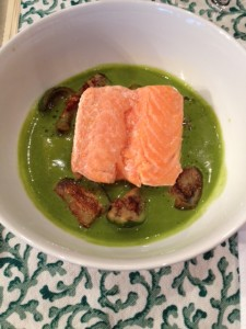 Roasted Salmon, Green Curry Broth, Thai Eggplant