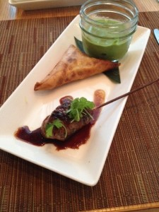 Mongolian Lamb Satay and Spiced Chicken Samosas,