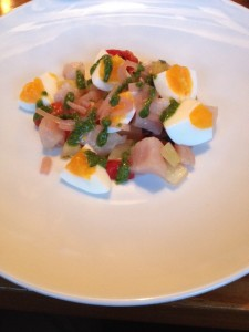 Raw-Tuna in a caper and anchovy dressing, roasted peppers and egg