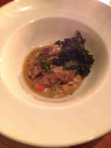 Pork Cheeks with cannellini beans, root vegetables, kale with a mustard sauce