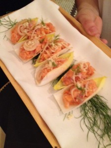 "Salmon ""pop rock"" Canapes"