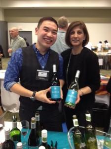 Henri Phrabawa &  Kelly Dhaliwal pouring wines