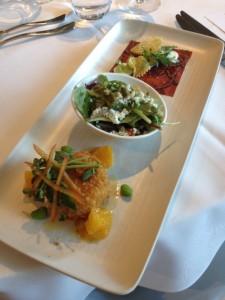 Rangeland Bison Carpaccio, BC Crab Cake & Quinoa Salad