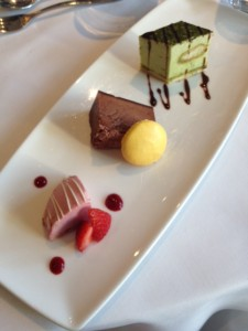 Matcha Green Tea Tiramiso, Belgian Chocolate Mousse Cake, and Raspberry Parfait