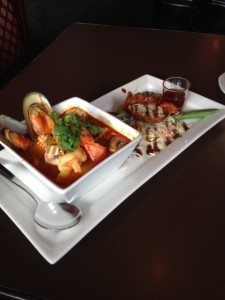 Tom Yum mixed Seafood Soup and Stuffed Chicken Wings