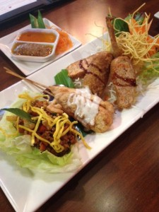 lettuce wrap, Satay chicken, stuffed chicken wings & prawn wrapped crunchy noodles
